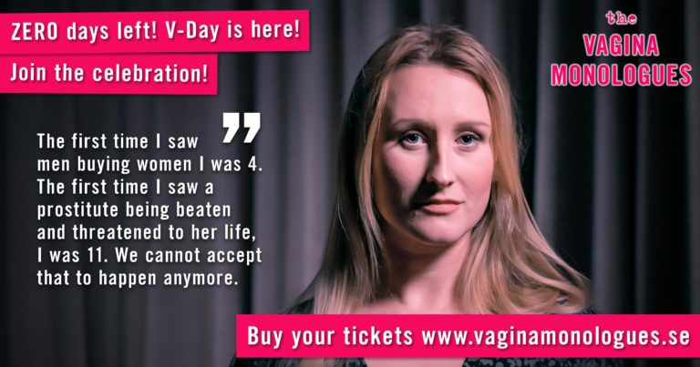 Delphine is supporting The Vagina Monologues on 6th March 2020. Buy tickets at vaginamonologues.se!