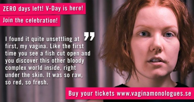 Lydia is performing at The Vagina Monologues on 6th March 2020. Buy tickets at vaginamonologues.se!