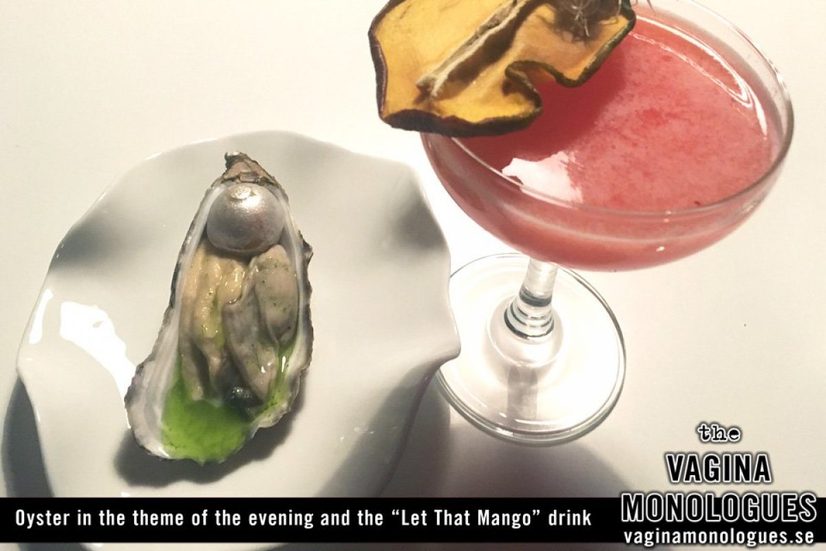 "Oyster in the theme of the evening and the ""Let That Mango"" drink"