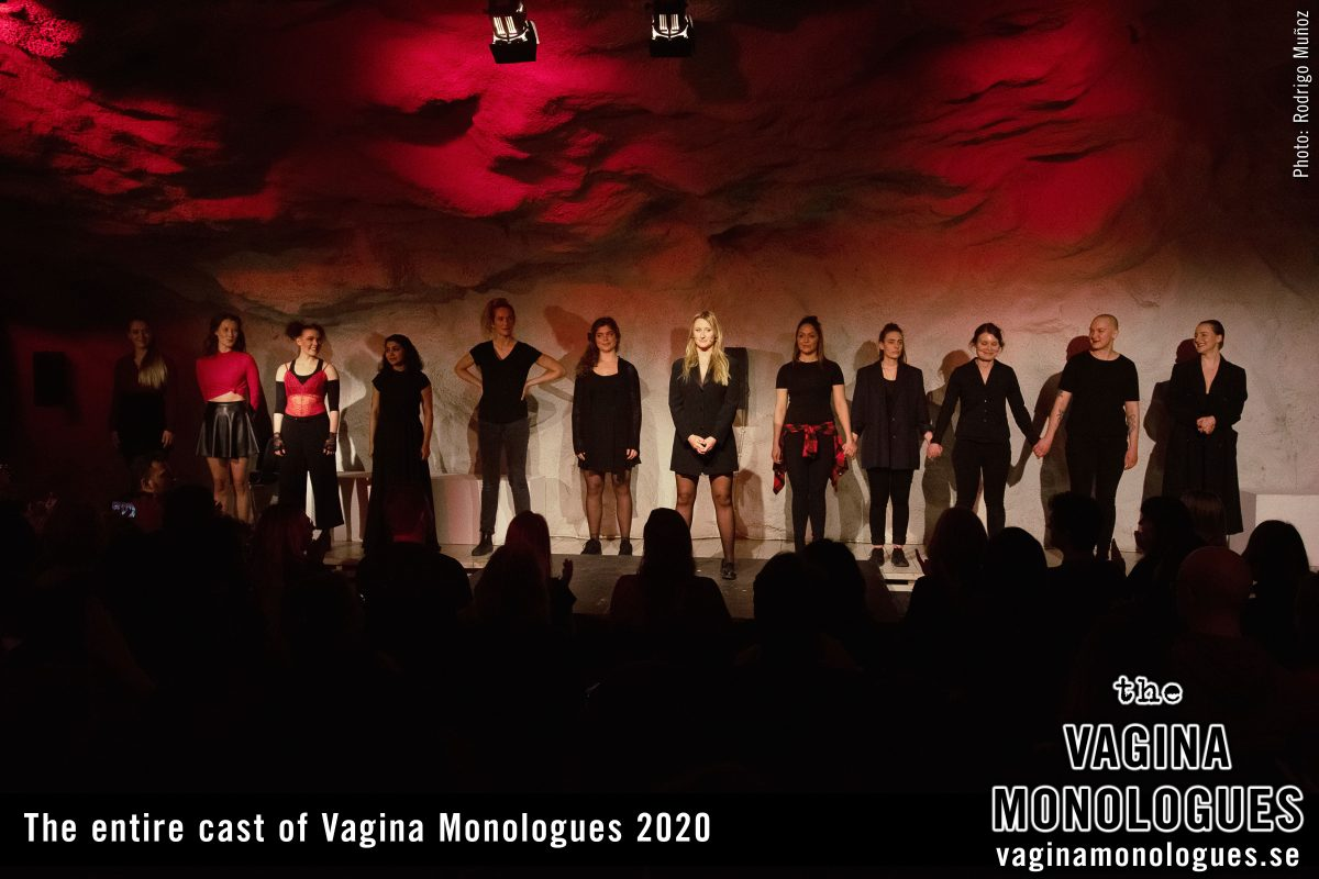 The entire cast of Vagina Monologues 2020 on stage