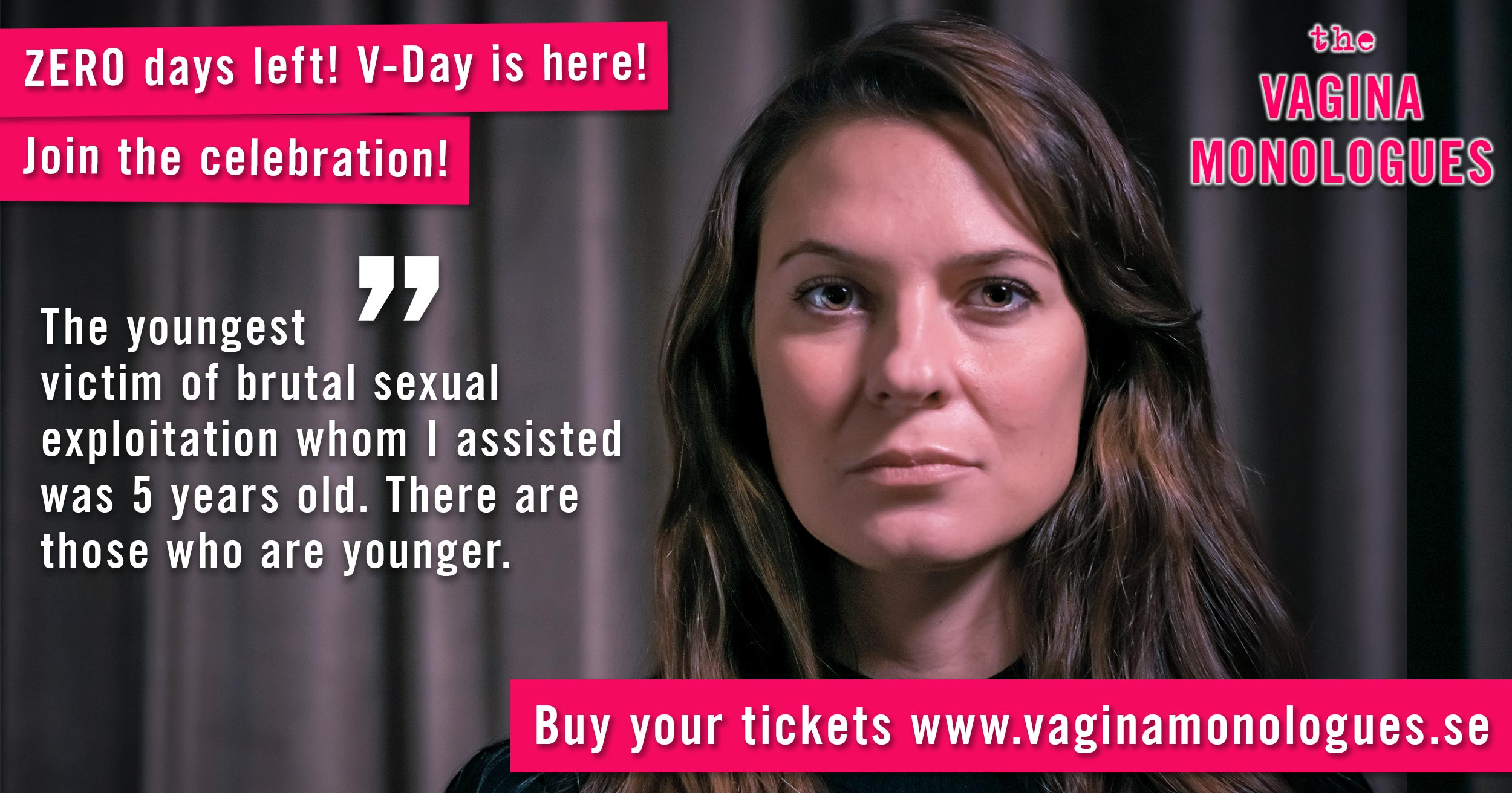 Elena is supporting The Vagina Monologues on 6th March 2020. Buy tickets at vaginamonologues.se!