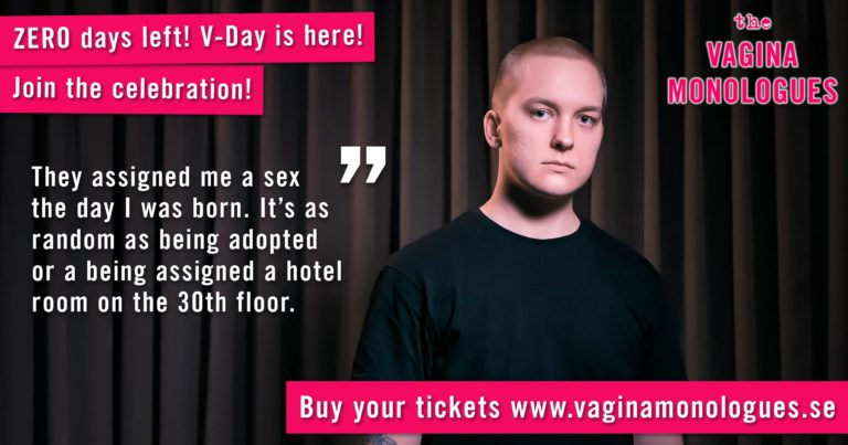 Lukas is performing at The Vagina Monologues on 6th March 2020. Buy tickets at vaginamonologues.se!