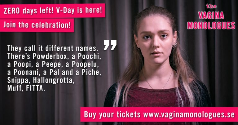Sara is performing at The Vagina Monologues on 6th March 2020. Buy tickets at vaginamonologues.se!